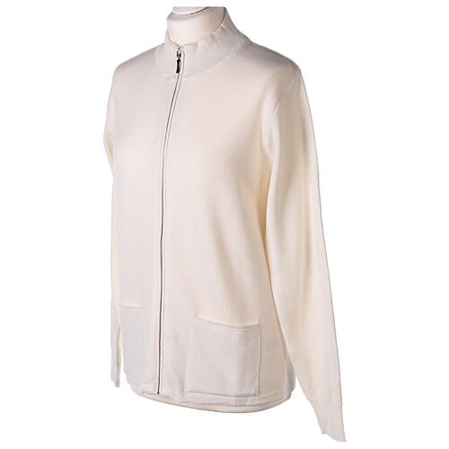 Chaqueta coreana con cremallera 50% acrílico 50% lana merina blanca monja In Primis 3