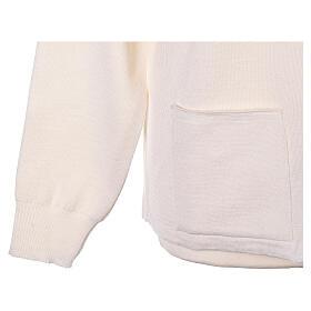 Cardigan col montant avec fermeture éclair 50% acrylique 50% laine mérinos blanc soeur In Primis s4
