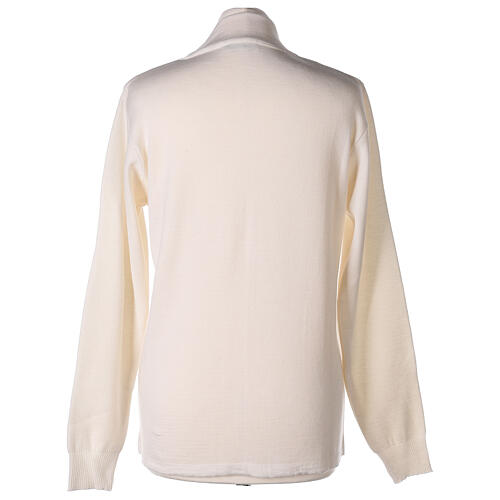 Cardigan col montant avec fermeture éclair 50% acrylique 50% laine mérinos blanc soeur In Primis 5