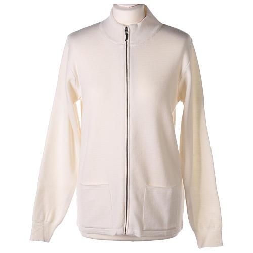 Giacca coreana con zip 50% acrilico 50% lana merino bianca suora In Primis 1