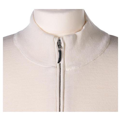 Giacca coreana con zip 50% acrilico 50% lana merino bianca suora In Primis 2
