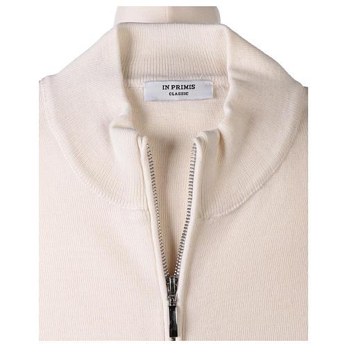 Giacca coreana con zip 50% acrilico 50% lana merino bianca suora In Primis 6