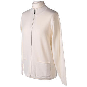 Casaco branco com fecho e bolsos gola coreana para freira, 50% acrílico e 50% lã de merino, linha