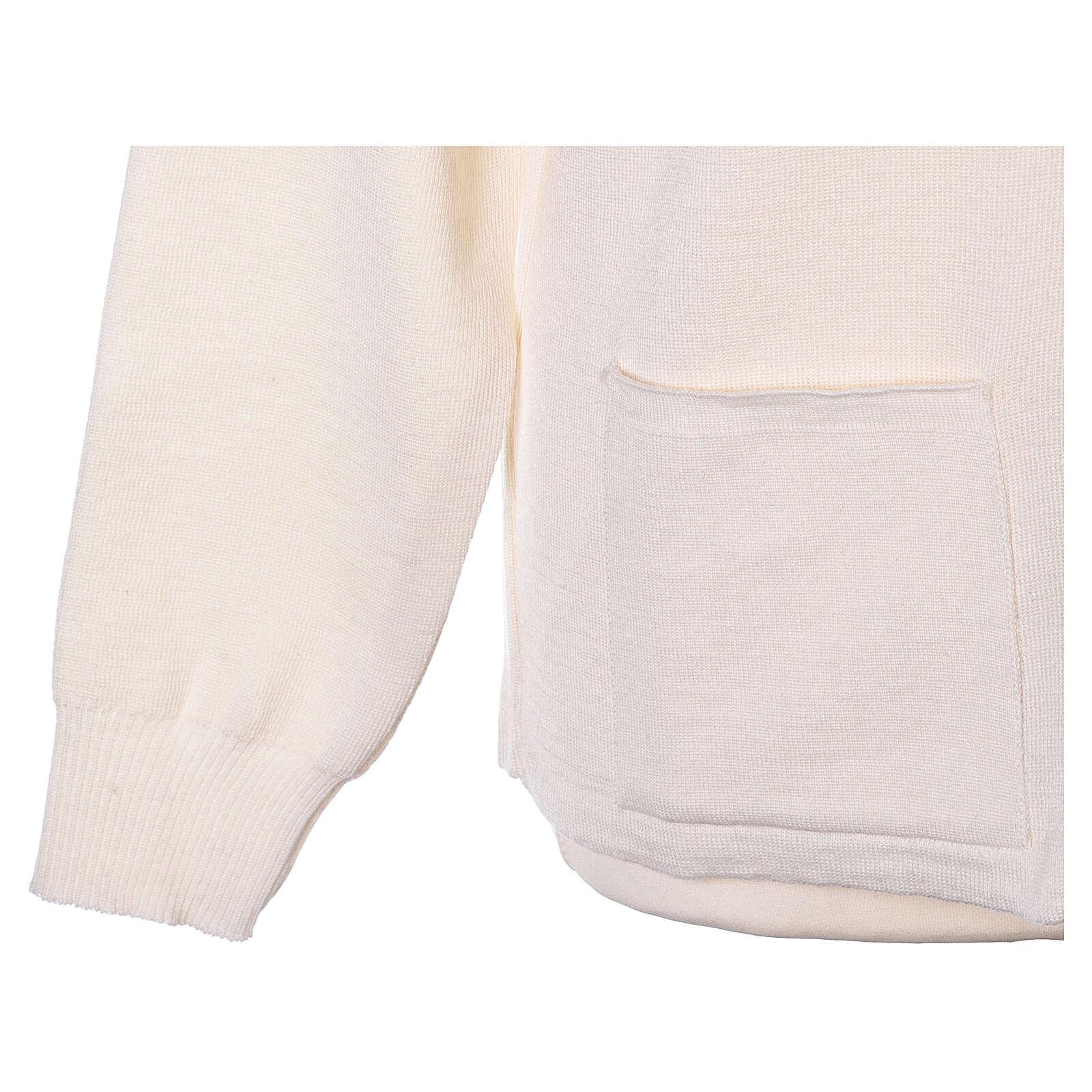 White nun jacket with mandarin collar and zip 50% acrylic 50% merino wool In Primis 4