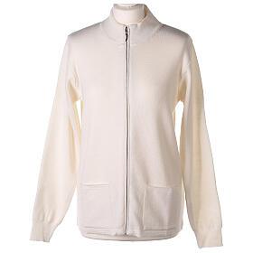 White nun jacket with mandarin collar and zip 50% acrylic 50% merino wool In Primis s1