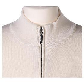 White nun jacket with mandarin collar and zip 50% acrylic 50% merino wool In Primis s2