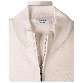 White nun jacket with mandarin collar and zip 50% acrylic 50% merino wool In Primis s6