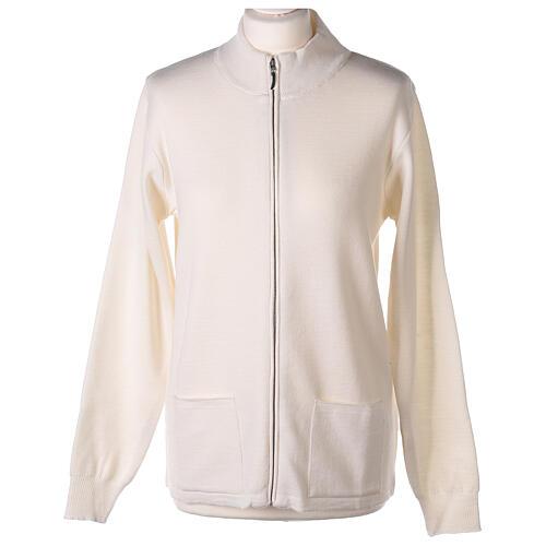 White nun jacket with mandarin collar and zip 50% acrylic 50% merino wool In Primis 1