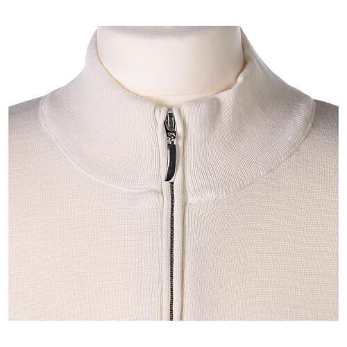 White nun jacket with mandarin collar and zip 50% acrylic 50% merino wool In Primis 2