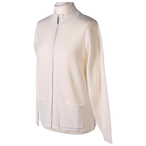 White nun jacket with mandarin collar and zip 50% acrylic 50% merino wool In Primis 3
