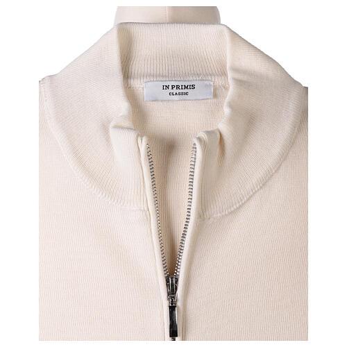 White nun jacket with mandarin collar and zip 50% acrylic 50% merino wool In Primis 6
