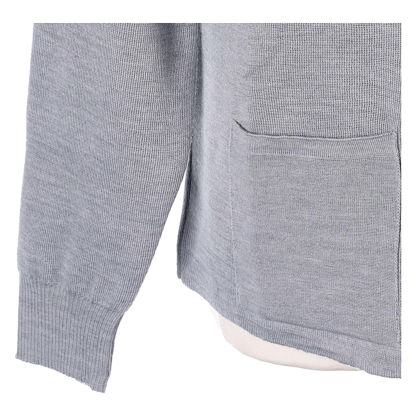 Chaqueta coreana con cremallera 50% acrílico 50% lana merina gris perla monja In Primis 4