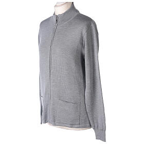Chaqueta coreana con cremallera 50% acrílico 50% lana merina gris perla monja In Primis s3
