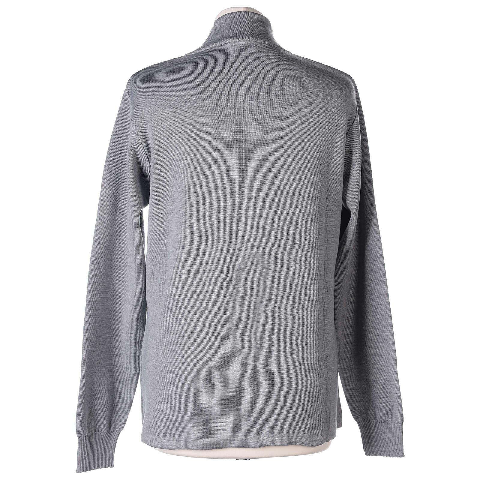 Cardigan col montant avec fermeture éclair 50% acrylique 50% laine mérinos gris perle soeur In Primis 4
