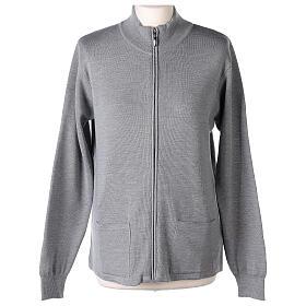 Cardigan col montant avec fermeture éclair 50% acrylique 50% laine mérinos gris perle soeur In Primis s1