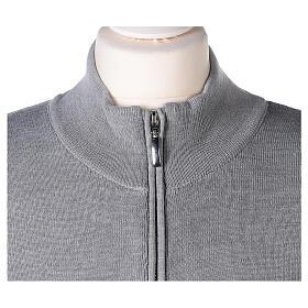 Cardigan col montant avec fermeture éclair 50% acrylique 50% laine mérinos gris perle soeur In Primis s2