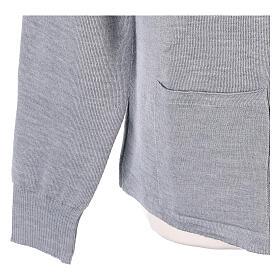 Cardigan col montant avec fermeture éclair 50% acrylique 50% laine mérinos gris perle soeur In Primis s4