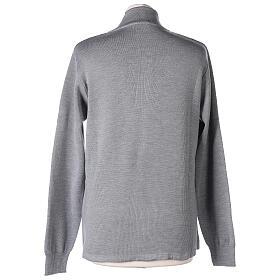 Cardigan col montant avec fermeture éclair 50% acrylique 50% laine mérinos gris perle soeur In Primis s5