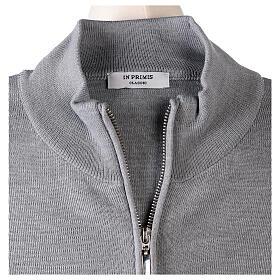 Cardigan col montant avec fermeture éclair 50% acrylique 50% laine mérinos gris perle soeur In Primis s6