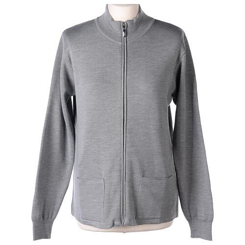 Cardigan col montant avec fermeture éclair 50% acrylique 50% laine mérinos gris perle soeur In Primis 1