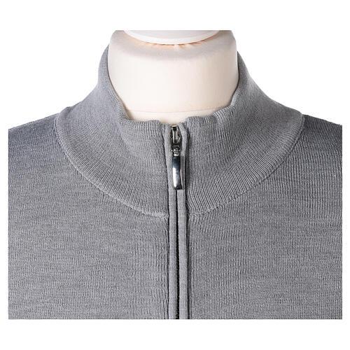 Cardigan col montant avec fermeture éclair 50% acrylique 50% laine mérinos gris perle soeur In Primis 2