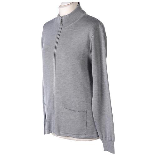 Cardigan col montant avec fermeture éclair 50% acrylique 50% laine mérinos gris perle soeur In Primis 3