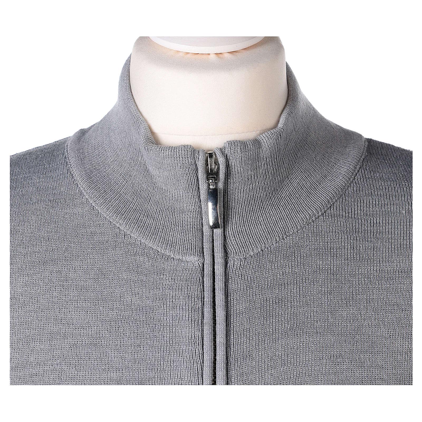 Giacca coreana con zip 50% acrilico 50% lana merino grigio perla suora In Primis 4