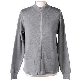 Giacca coreana con zip 50% acrilico 50% lana merino grigio perla suora In Primis s1