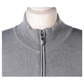 Giacca coreana con zip 50% acrilico 50% lana merino grigio perla suora In Primis s2
