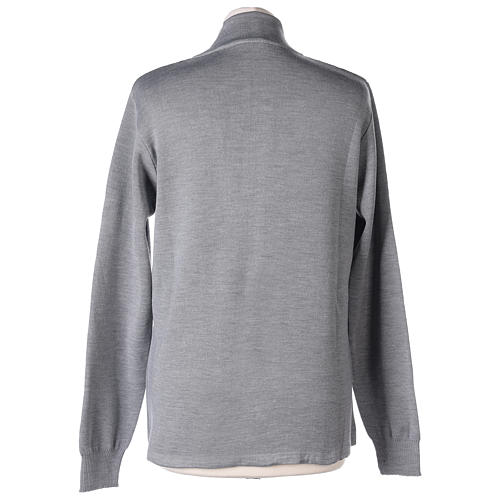 Giacca coreana con zip 50% acrilico 50% lana merino grigio perla suora In Primis 5