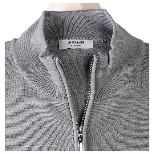 Giacca coreana con zip 50% acrilico 50% lana merino grigio perla suora In Primis 6