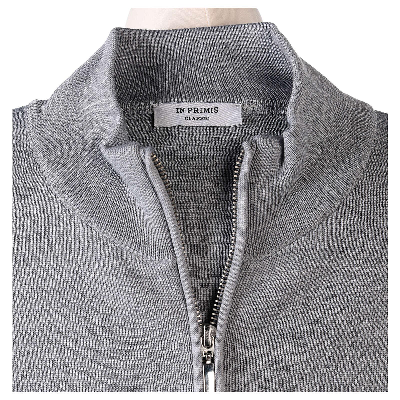 Grey nun jacket with mandarin collar and zip 50% acrylic 50% merino wool In Primis 4
