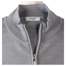 Grey nun jacket with mandarin collar and zip 50% acrylic 50% merino wool In Primis s6