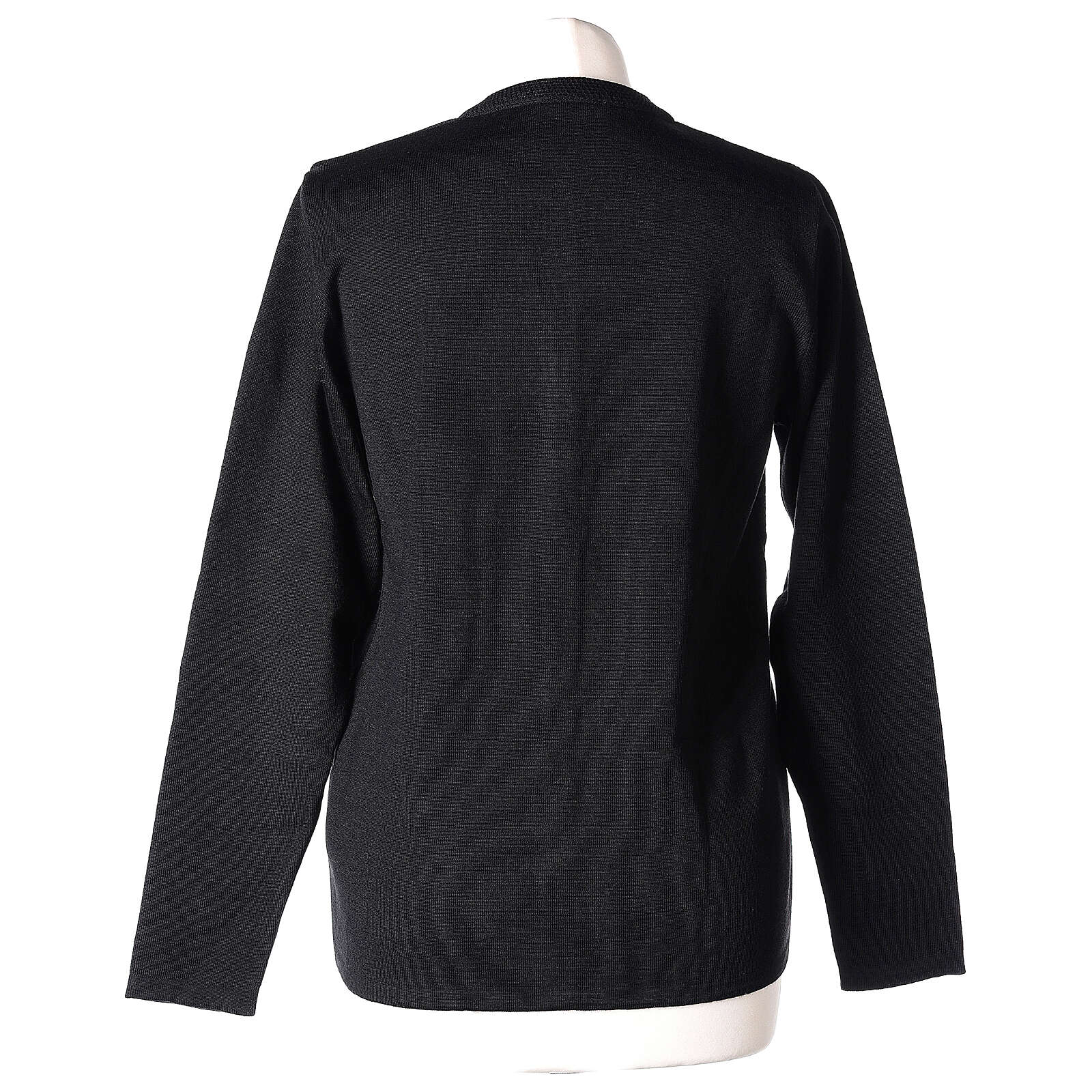 Nun black crew neck cardigan with pockets PLUS SIZES 50% merino wool 50% acrylic In Primis 4