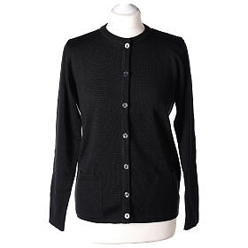Nun black crew neck cardigan with pockets PLUS SIZES 50% merino wool 50% acrylic In Primis s1