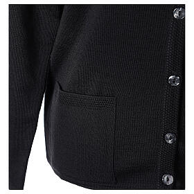 Nun black crew neck cardigan with pockets PLUS SIZES 50% merino wool 50% acrylic In Primis s5