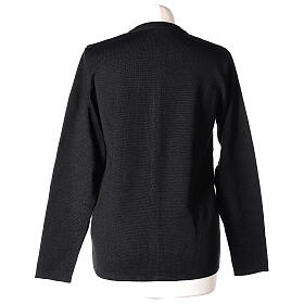 Nun black crew neck cardigan with pockets PLUS SIZES 50% merino wool 50% acrylic In Primis s6