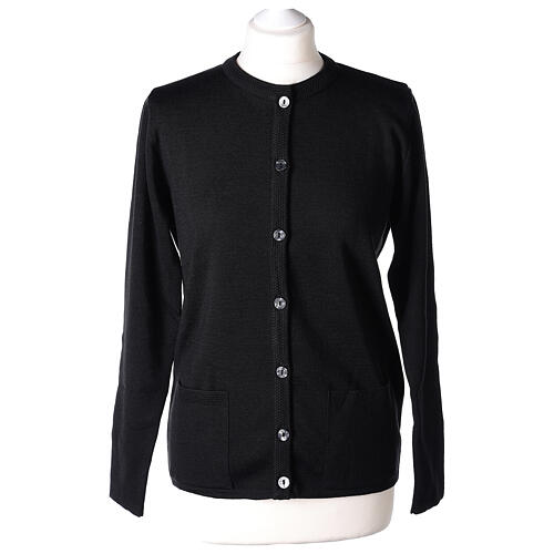 Nun black crew neck cardigan with pockets PLUS SIZES 50% merino wool 50% acrylic In Primis 1