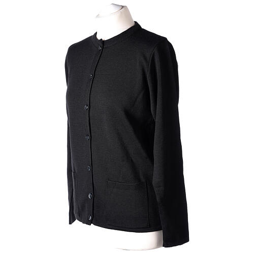 Nun black crew neck cardigan with pockets PLUS SIZES 50% merino wool 50% acrylic In Primis 3