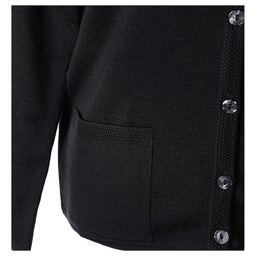 Nun black crew neck cardigan with pockets PLUS SIZES 50% merino wool 50% acrylic In Primis 5