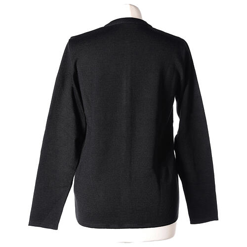 Nun black crew neck cardigan with pockets PLUS SIZES 50% merino wool 50% acrylic In Primis 6