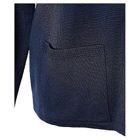 Cardigan bleu pour soeur col rond poches GRANDE TAILLE 50% acrylique 50% mérinos In Primis s5