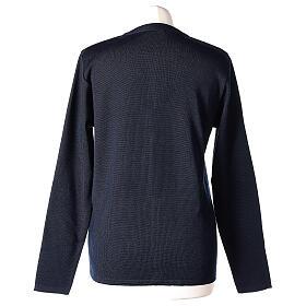 Cardigan bleu pour soeur col rond poches GRANDE TAILLE 50% acrylique 50% mérinos In Primis s6