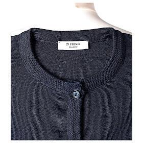 Cardigan bleu pour soeur col rond poches GRANDE TAILLE 50% acrylique 50% mérinos In Primis s7