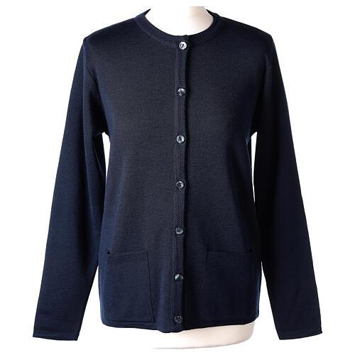Cardigan bleu pour soeur col rond poches GRANDE TAILLE 50% acrylique 50% mérinos In Primis 1