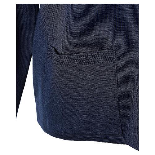 Cardigan bleu pour soeur col rond poches GRANDE TAILLE 50% acrylique 50% mérinos In Primis 5
