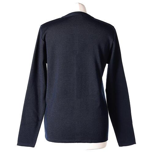 Cardigan bleu pour soeur col rond poches GRANDE TAILLE 50% acrylique 50% mérinos In Primis 6