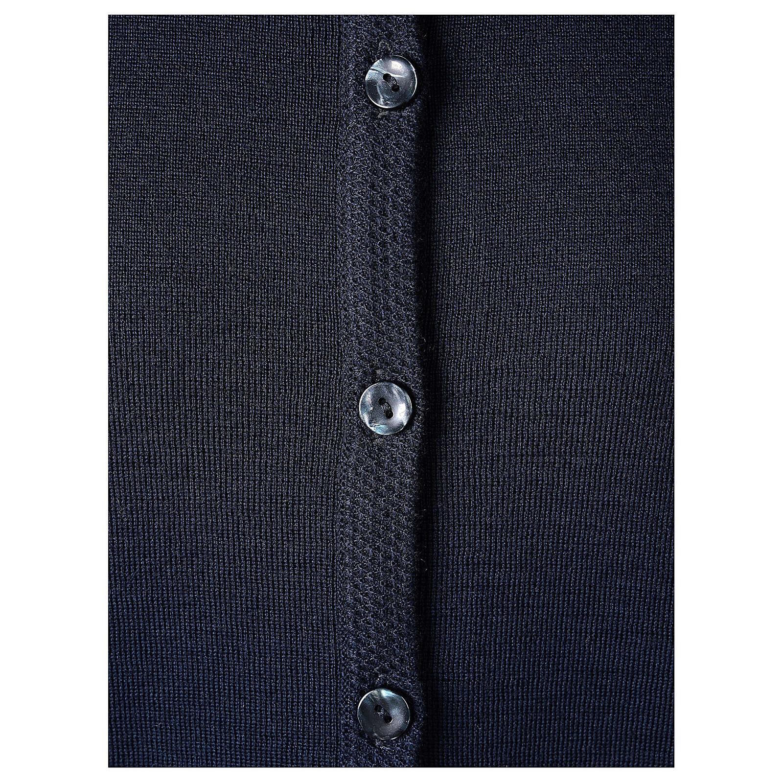 Cardigan suora blu coreana tasche TAGLIE CONF. 50% acr. 50% merino In Primis 4
