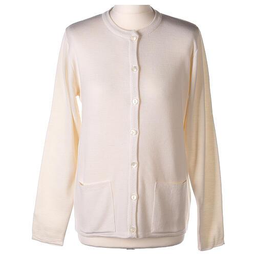 Cardigan blanc pour soeur col rond poches GRANDE TAILLE 50% acrylique 50% mérinos In Primis 1