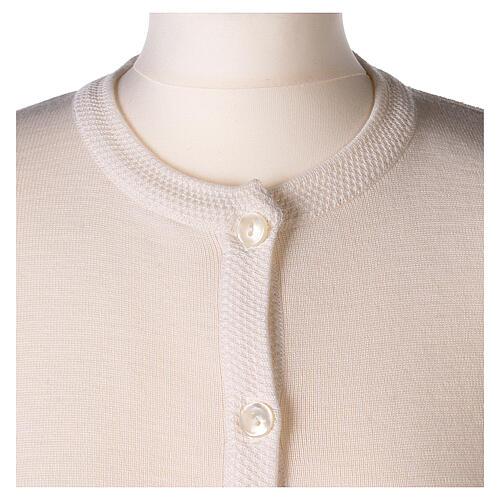 Cardigan blanc pour soeur col rond poches GRANDE TAILLE 50% acrylique 50% mérinos In Primis 2